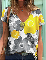 cheap -Women's T shirt Floral V Neck Tops Basic Basic Top White