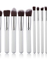 cheap -10pcs makeup brush set cosmetics blending blush eyeliner face powder brush (white+silver)