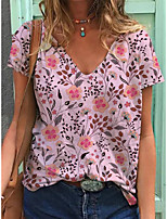 cheap -Women's T shirt Floral Graphic Print V Neck Tops Basic Beach Basic Top Blue Purple Blushing Pink