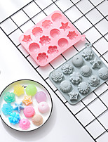 cheap -Cake Molds 2 Pieces 12 Different Flower-shaped Silicone Molds Moon Cakes DIY Aromatherapy Ice Tray Soap Key Chain Mold Candy Food Storage Box