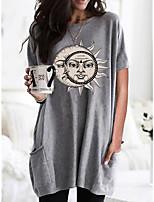 cheap -Women's T shirt Portrait Print Round Neck Tops Hawaiian Basic Top Black Wine Khaki