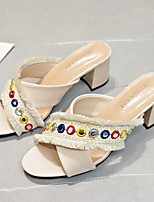 cheap -Women's Sandals Chunky Heel Round Toe PU Black Beige