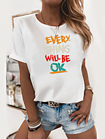 cheap -Women's T shirt Text Print Round Neck Tops 100% Cotton Basic Basic Top White