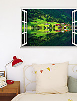 cheap -3D Fake Window New Wall Paste Lakeside Home Corridor Background Decoration Removes The Stickers