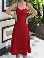 cheap -A-Line Vintage Sexy Holiday Cocktail Party Dress Spaghetti Strap Sleeveless Tea Length Spandex with Ruched 2021