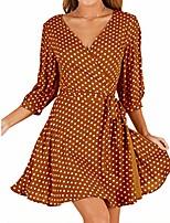 cheap -honghu women's 3/4 sleeves wrap v neck dress polka dot tie waist mini skater dress yellow xl