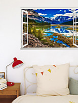 cheap -3D False Window New Wall Paste Blue Sky Snow Mountain Home Corridor Background Decoration Can Be Removed Stickers