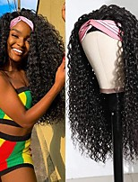 cheap -Headband Wig Curly None Lace Front Wigs Brizilian Virgin Hair Machine Made Kinky Curly Wigs for Black Women 150% Density Natural Color12-30 inch