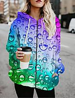 cheap -Women's Jackets 3D Print Print Casual Fall Jacket Regular Daily Long Sleeve Air Layer Fabric Coat Tops Rainbow