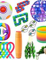 cheap -19 pcs Fidget Sensory Toy Set Stress Relief Toys Autism Anxiety Relief Stress Pop Bubble Fidget Sensory Toy For Kids Adults