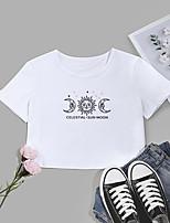 cheap -Women's Crop Tshirt Graphic Letter Print Round Neck Tops Cotton Basic Basic Top White Black