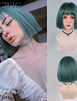 cheap -Women's Short Synthetic Wig with Bangs Light Green Straight Hair BOB Style Heat-Resistant Wig Cosplay Blunt Cut Bob