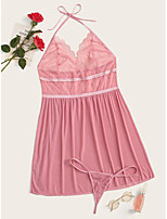 cheap -Women's Layered Lace Hole Sexy Lingerie Nightwear Solid Colored Embroidered Bra Blushing Pink L XL XXL