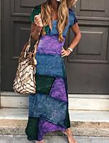 cheap -Women's Sheath Dress Maxi long Dress Blue Purple Green Short Sleeve Print Print Spring Summer V Neck Boho 2021 S M L XL