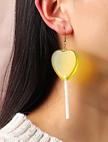 cheap -Women's Drop Earrings Heart Candy Stylish Earrings Jewelry Blue / Yellow / Blushing Pink For Date 1 Pair
