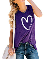 cheap -Women's Tank Top Graphic Heart Print Round Neck Tops Basic Basic Top Blue Purple Light gray