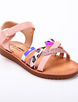 cheap -Girls' Sandals Roman Shoes PU Lace up Big Kids(7years +) Daily Home Sequin Split Joint Pink Summer / Color Block