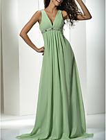 cheap -A-Line Empire Minimalist Wedding Guest Engagement Dress V Neck Sleeveless Sweep / Brush Train Chiffon with Pleats 2021