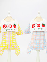 cheap -Dog Cat Dog clothes Plaid / Check Fruit Japan and Korea Style Cute Dailywear Casual / Daily Dog Clothes Puppy Clothes Dog Outfits Breathable Yellow Blue Costume for Girl and Boy Dog Padded Fabric S M