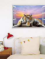 cheap -3D Fake Window New Wall Plastering Meditation Tiger Home Hallway Background Decoration Can Be Removed Stickers