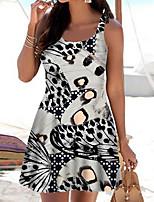 cheap -Women's A Line Dress Short Mini Dress White Sleeveless Color Block Animal Print Spring Summer Boat Neck Casual 2021 S M L XL XXL 3XL