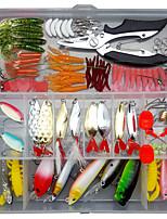 cheap -106 pcs Lure kit Fishing Lures Hard Bait Soft Bait Spoons Minnow Pencil Popper Vibration / VIB lifelike 3D Eyes Bass Trout Pike Sea Fishing Lure Fishing Freshwater and Saltwater