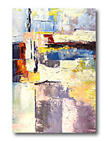 cheap -Stretched Oil Painting Hand Painted Canvas Abstract Comtemporary Modern High Quality Blue Purple Ready to Hang