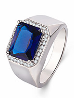 cheap -blue corundum sapphire open men's ring silver-plated platinum-plated tanzanite live men's ring