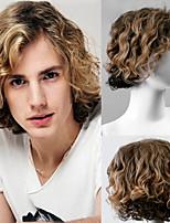 cheap -Fashion Mens Wig Short Side Bang Colormix Wavy Synthetic Men Wig