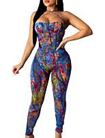 cheap -225 european and american sexy ladies denim graffiti print lace-up backless skinny jumpsuit aliexpress ebay hot sale