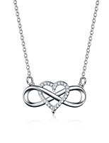 cheap -heart-shaped necklace lucky 8 diamond love pendant necklace jewelry