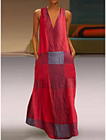 cheap -Women's Shift Dress Maxi long Dress Sleeveless Color Block Spring Summer V Neck Elegant & Luxurious 2021 M L XL 2XL 3XL 4XL 5XL