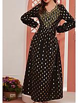 cheap -Women's Kaftan Dress Maxi long Dress Black Long Sleeve Polka Dot Patchwork Summer Round Neck Casual 2021 S M L XL XXL 3XL