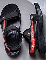 cheap -Men's Sandals Beach Daily Nappa Leather Breathable Non-slipping Wear Proof Black Red Dark Blue Summer