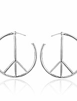 cheap -geometric peace sign symbol stud earrings jewelry for women men simple big round hoop earrings (silver)