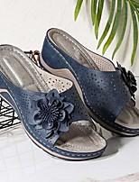 cheap -Women's Sandals Wedge Heel Round Toe PU Light Brown White Black
