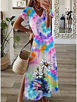 cheap -21 years amazon wish cross-border independent station new fashion tie-dye small daisy print women's v-neck dress