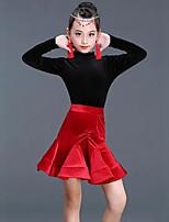 cheap -Latin Dance Skirts Pleats Solid Ruffle Girls' Training Performance Long Sleeve High Pleuche Polyester