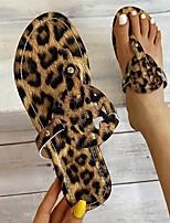 cheap -Women's Sandals Flat Heel Round Toe PU Leopard Leopard