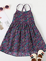 cheap -Kids Little Girls' Dress Tribal Causal Holiday Ruched Purple Knee-length Sleeveless Basic Dresses Children's Day Summer Loose 3-6 Years