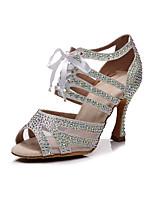 cheap -Women's Latin Shoes Heels High Heel Crystal / Rhinestone Crystal Heel High Heel Open Toe White Black Green Ribbon Glitter Crystal Sequined Jeweled / Satin / Satin / Silk / Professional