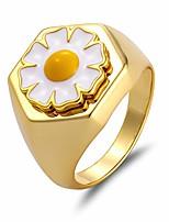 cheap -enamel ring for women vintage daisy flower rings enameled clover lucky finger ring rose infinity chrysanthemum 18k gold stainless steel statement ring for girl (daisy, 18.3mm)