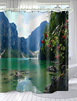 cheap -Boat In The River Digital Printing Shower Curtain Shower Curtains  Hooks Modern Polyester New Design