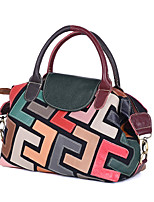 cheap -new handbags, leather, cowhide, color stitching pattern, handbag, button cover, soft, street fashion bag, cross-border style