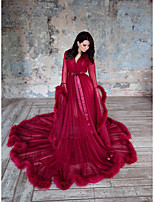 cheap -Ball Gown Elegant Boho Holiday Formal Evening Dress V Neck Long Sleeve Court Train Tulle with Ruffles 2021