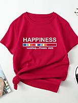 cheap -Women's T shirt Color Gradient Letter Print Round Neck Tops Cotton Basic Basic Top Black Blue Red