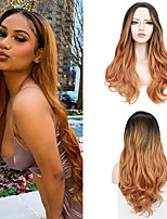 cheap -Body Natural Wavy Synthetic Wig Middle Part Ombre Color Hair Wigs Heat Resistant Fiber Free Cap