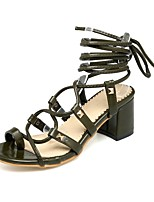 cheap -Women's Sandals Chunky Heel Round Toe PU Synthetics Black Yellow Green
