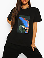 cheap -Women's T shirt Graphic Portrait Print Round Neck Tops 100% Cotton Basic Basic Top Black Green