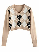 cheap -women's pullover colorblock sweaters knitted top long sleeve crewneck lightweight classic y2k argyle streetwear (khaki, s)